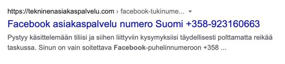 fake Facebook asiakaspalvelu Google tulos