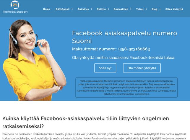 fake Facebook asiakaspalvelu sivu